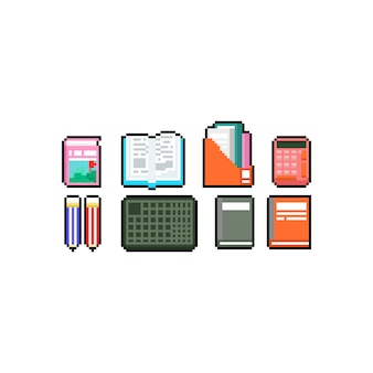Pixel art book and stationery icon design set.