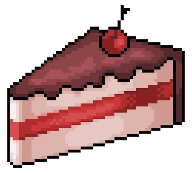Pixel art cake bit game item isolated on white