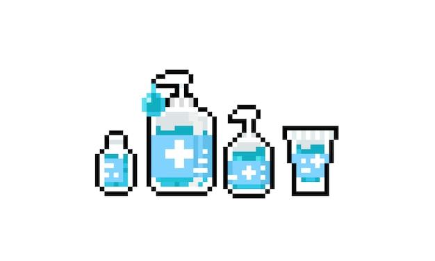Pixel art cartoon alcohol gel icon design set.