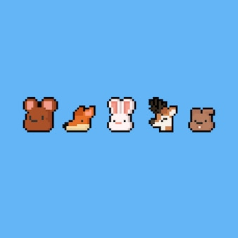 Pixel art cartoon animal icon set. 8bit. autumn.