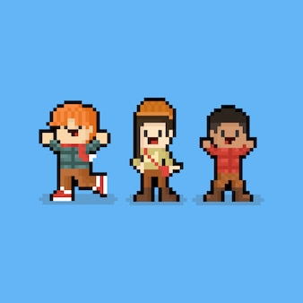 Pixel art cartoon autumn children character. 8bit.