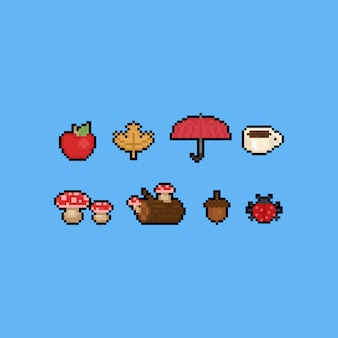 Pixel art cartoon autumn icon set.8bit.