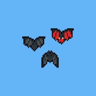 Pixel art cartoon bat characters. 8bit. halloween.