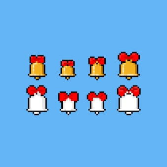 Pixel art cartoon bell icon with red ribbon set.