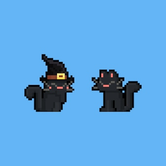 Pixel art cartoon black cat character