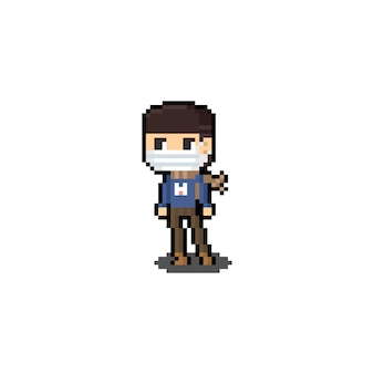 Pixel art cartoon boy character wearing mask and brown scarf.