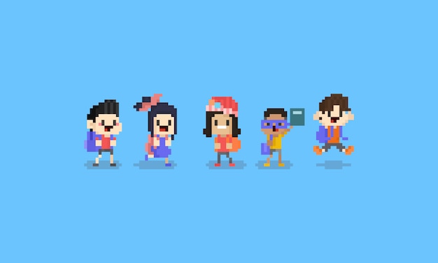 Pixel art cartoon children character.back to school concept.8bit.