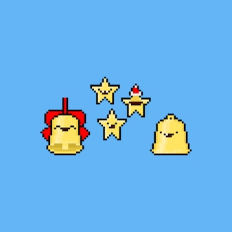 Pixel art cartoon christmas bell and stars.