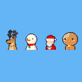 Pixel art cartoon christmas character icon set.
