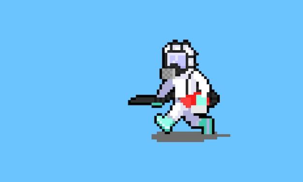 Pixel art cartoon cleaner staff character runnig while holding a sprayer.