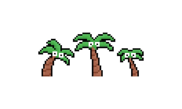 Pixel art cartoon coconut tree set