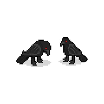 Pixel art cartoon crow characters. 8bit. halloween.