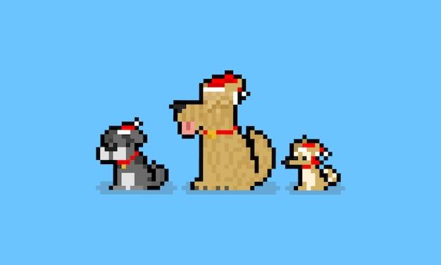 산타의 모자와 픽셀 아트 만화 귀여운 강아지 캐릭터.