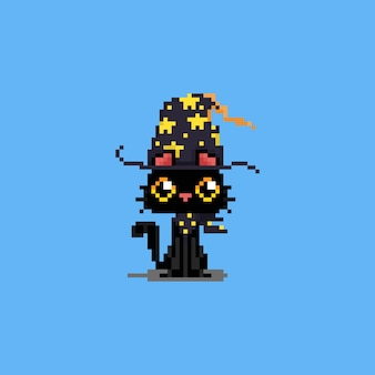 Pixel art cartoon cute magical black cat character.