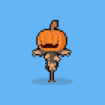 Pixel art cartoon cute pumpkin head scarecrow character