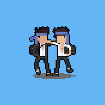 Pixel art cartoon drunken people character.