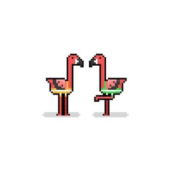 Pixel art cartoon flamingo character with swimming trunks.8bit summer.