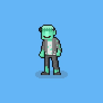 Pixel art cartoon frankenstein character