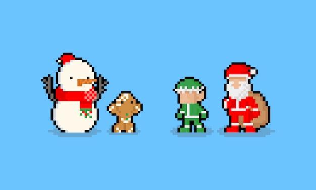 픽셀 아트 만화 재미 있은 크리스마스 문자. 8 비트