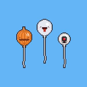 Pixel art cartoon ghost balloon set. 8bit. halloween.