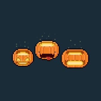Pixel art cartoon glowing pumpkin head