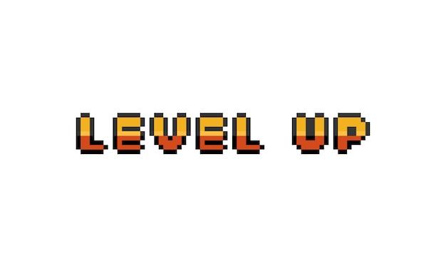 Pixel art cartoon gold level up text design.