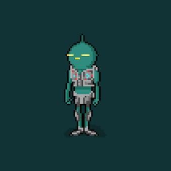 Пиксель арт мультяшный зеленый инопланетный персонаж