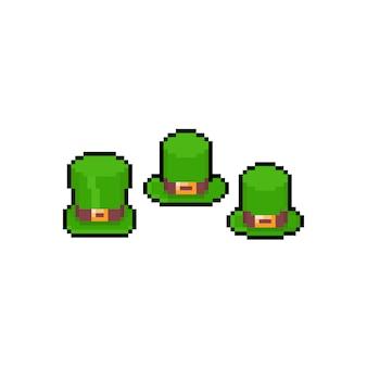 Pixel art cartoon green hat icon set.