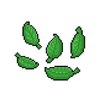 Пиксель арт мультфильм зеленые листья значок дизайн набора.