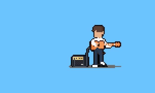 Pixel art cartoon guitarist character with apmlifier.