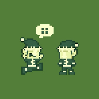 Pixel art cartoon happy elf characters