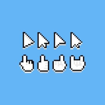Pixel art cartoon icon cursor set.