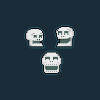 Pixel art cartoon laughing skull head icon set.