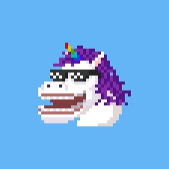 Пиксель арт мультфильм смеющаяся голова единорога в темных очках