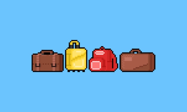 Pixel art cartoon luggage set