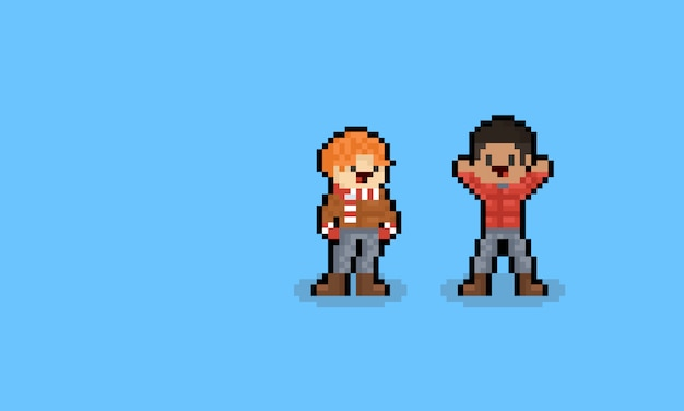 Pixel art cartoon male autumn character.8bit.