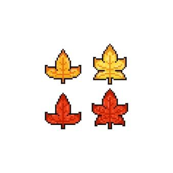 Pixel art cartoon maple leaves set.