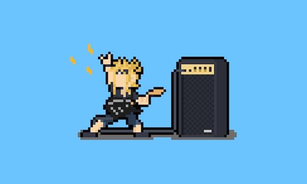 Pixel art cartoon metal guitarist with amplifier character.