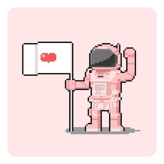 Пиксель арт мультфильм розовый космонавт с флагом.