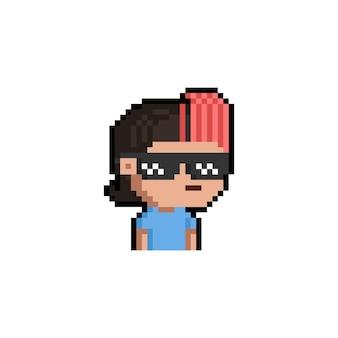 Пиксель арт мультфильм портрет человека с забавными солнцезащитными очками
