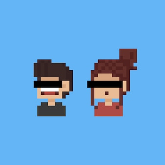 Pixel art cartoon portrait people character with eyes censored.