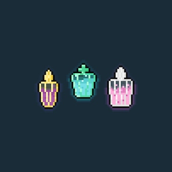 Pixel art cartoon potion icon set