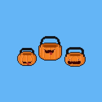 Pixel art cartoon pumpkin basket. 8bit. halloween.