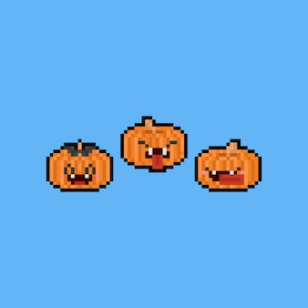 Pixel art cartoon pumpkin character set