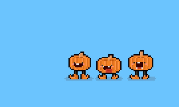 Pixel art cartoon pumpkin character with legs. 8bit. halloween.