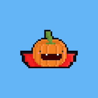 Pixel art cartoon pumpkin dracula.