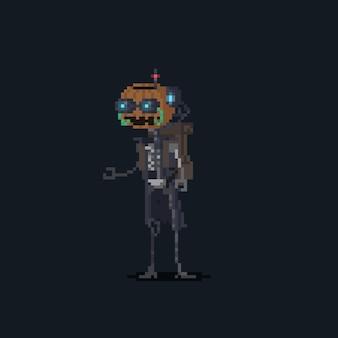 Пиксель арт мультфильма тыква робот персонаж