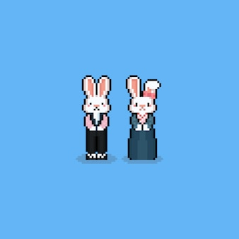 Pixel art cartoon rabbit character with hanbok costume.chuseok.