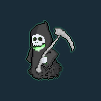 Pixel art cartoon reaper character.