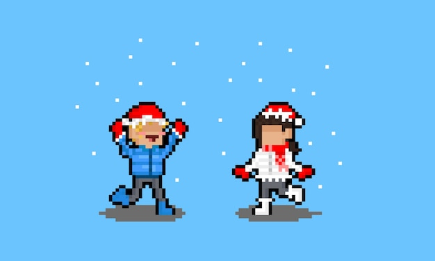 Pixel art cartoon red christmas hat scarf
